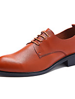 Men's Oxfords Spring Summer Fall Winter Comfort PU Casual Low Heel Lace-up Black Brown