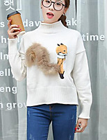Women's Casual/Daily Simple Long Pullover,Animal Print Red / White / Black Round Neck Long Sleeve Rabbit Fur Fall / Winter Medium