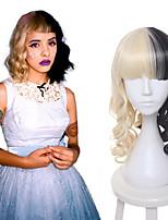 Melanie Martinez peruca metade loira e preta Culy meio de cosplay perucas longas perucas do partido das mulheres calor resistência