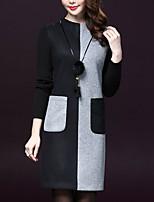 Gaine Robe Femme Sortie / Grandes Tailles Chic de Rue,Couleur Pleine Col Ras du Cou Au dessus du genou Manches Longues Noir Polyester