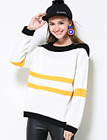 Women's Casual/Daily Simple Regular Pullover,Striped White Round Neck Long Sleeve Rayon Fall Thick Micro-elastic