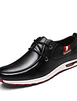 Men's Oxfords Fall Winter Comfort PU Casual Flat Heel Lace-up Black Blue Brown