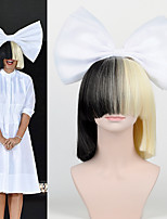 The New Hair Bow Set Long Bangs Half Black Half Blonde Sia Styling Party Wigs High - end mesh  white Big bow