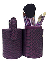 12 Makeup Brushes Set Goat Hair Professional / Portable Wood Handle Face/Eye/Lip Purple