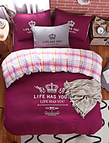 Bedtoppings 4pcs Set King 1 Comforter Duvet Quilt Cover/1 Flat Sheet/1 Pillowcase Solid Color With Prints Poly Microfiber