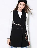 Damen Druck Einfach Lässig/Alltäglich / Übergröße Jacke,Herbst V-Ausschnitt Ärmellos Schwarz Mittel Kunstseide / Polyester