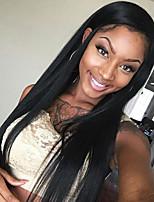 бесклеевой передние парики шнурка натуральный черный шелк прямые парики бразильские виргинские человеческие волосы для женщин