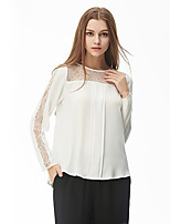 NAKED ZEBRA   Women's Casual Street chic Spring BlouseSolid Round Neck Long Sleeve White Polyester