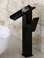 Retro Vessel Waterfall with Ceramic Valve Single Handle One Hole for Oil-rubbed Bronze , Bathroom Sink Faucet