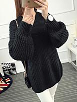 Damen Standard Pullover Niedlich Solide / Gestreift Schwarz / Grün Langarm Baumwolle Mittel Mikro-elastisch