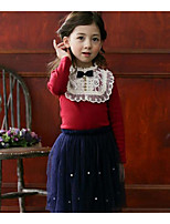 Girl Casual/Daily Solid Blouse,Cotton Winter Long Sleeve