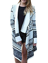 Women's Casual Simple Long Cardigan,Geometric White Notch Lapel Long Sleeve Polyester Fall / Winter Thick Stretchy