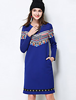 MEIDONGTAI Women's Plus Size / Casual/Daily Simple Shift DressPrint Round Neck Above Knee Long Sleeve Blue Cotton / Polyester / Nylon / SpandexFall