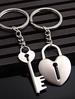 Stainless Steel Favors-2pc Piece/Set Couples Keychains Beach/Garden/Fairytale Theme Non-personalised Key Lock Heart Design