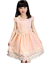 Девичий Платье На каждый день Смесь хлопка Однотонный Лето С короткими рукавами