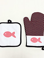 2 Pieces Pot Holder & Oven Mitt For Cooking Utensils / Bread / Cake / Pie / Pizza FabricHeat-insulated / Eco-Friendly / High Quality / Cotton