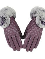 теплое прикосновение волос кролика рот перчатки (фиолетовый)