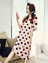 Women Babydoll & Slips Nightwear,Retro Polka Dot-Medium Cotton Pink Women's