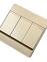 interrupteur mural socket de type 86 tenue de trois panneau ouvert d'or de l'interrupteur de commande à double