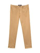 Metersbonwe  Men's  Solid Brown Chinos PantsSimple Winter