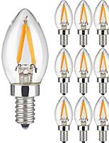 KWB 10PCS 2W Dimmable LED Filament Bulb 25W Equivalent LED Bulbs E14 Candelabra Screw Base Light Bulbs 200LM 360 Degree Beam Angle AC 220-240 V