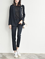 Women's Casual/Daily Simple Pant Suits,Solid Peaked Lapel Long Sleeve Black Polyester