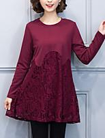 Ample Robe Femme Décontracté / Quotidien / Grandes Tailles simple,Mosaïque Col Arrondi Au dessus du genou Manches Longues Rouge / Noir