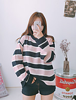 Women's Casual Simple Regular Pullover,Striped Pink Round Neck Long Sleeve Polyester Autumn Medium Micro-elastic
