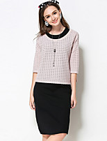 Women's Casual/Daily / Plus Size Simple Fall Set Skirt Suits,Solid Round Neck ¾ Sleeve Pink Rayon / Polyester / Nylon Medium