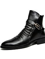 Men's Boots Winter Comfort PU Casual Flat Heel Buckle Black