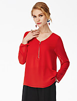 NAKED ZEBRA    Women's Casual Street chic Spring BlouseSolid V Neck Long Sleeve Red / Black Polyester