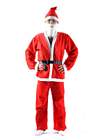 Cosplay Costumes Santa Suits Movie Cosplay Red Solid Top / Pants / Belt / Hats Christmas Male Polyester