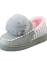 Women's Slippers & Flip-Flops Spring / Fall / Winter Comfort Leather Casual Flat Heel Pom-pom Black / Green / Pink / Almond Others