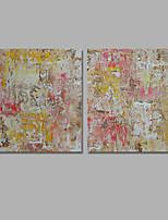 Pintados à mão Abstracto / Paisagem Pinturas a óleo,Modern / Clássico 2 Painéis Tela Hang-painted pintura a óleo For Decoração para casa