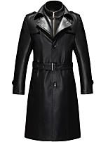 Мужчины На каждый день / Офис / Большие размеры Однотонный Кожаные куртки Лацкан с тупым углом,Простое / Уличный стиль / Панк & Готика