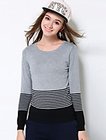 MEIDONGTAI Women's Plus Size / Casual/Daily Simple Regular PulloverStriped Gray Round Neck Long Sleeve Rayon / Polyester Fall / Winter Medium