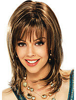 Heat Resistant Amanda Celebrity Style Sexy Trendy Wave Brown Synthetic Wig with Bang High Quality