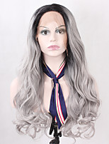 Ombre Grey Natural Long Wavy Synthetic Hair Lace Front Wigs for Fashion Women Heat Resistant Half Hand Tied Fiber Hair Replacement Wig
