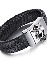 Kalen Men's Leather Bracelet Punk 316 Stainless Steel Skull Charm Bracelets&Bangles Rock Jewelry Fashion Male Accessory