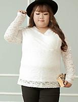 KELIXUAN  Women's Plus Size Simple Fall T-shirtSolid V Neck Long Sleeve White / Black Nylon / Spandex