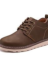 Men's Boots Comfort PU Casual Flat Heel Lace-up Black Brown Coffee Walking