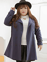 KELIXUAN  Women's Plus Size / Casual/Daily Simple Trench CoatSolid Notch Lapel Long Sleeve Winter Blue Cotton / Polyester