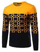 Herren Standard Pullover-Ausgehen Lässig/Alltäglich Einfach Aktiv Einfarbig Grün Gelb Rundhalsausschnitt Langarm Baumwolle Winter Dick