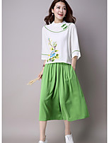 Women's Casual/Daily Chinoiserie Spring / Fall Pant Suits,Print Round Neck Long Sleeve Blue / Red / Green Linen