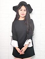 Feminino Solto Vestido,Casual Simples Sólido Decote Redondo Acima do Joelho Manga Longa Preto Poliéster Outono / Inverno Cintura Média