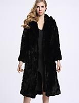 Женский На каждый день Однотонный Пальто с мехом Капюшон,Изысканный Зима Черный Длинный рукав,Мех рекса