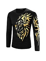 Men's Casual/Daily Simple All Seasons T-shirtAnimal Print Round Neck Long Sleeve  Cotton Medium