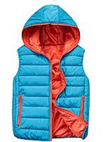 Пальто Простое Обычная Пуховик Мужчины,Однотонный На каждый день / Большие размеры Полиэстер Пух белой утки,Без рукавов Синий / Черный