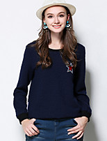 Women's Casual/Daily Plus Size Simple Regular Pullover,Embroidered Blue Round Neck Long Sleeve Polyester Fall Winter Medium Micro-elastic