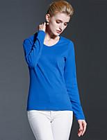 Tee-shirt Femme,Couleur Pleine Décontracté / Quotidien simple Automne / Hiver Manches Longues Col Arrondi Bleu Coton Opaque